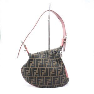 FENDI Brown & Red Zucca Shoulder Bag